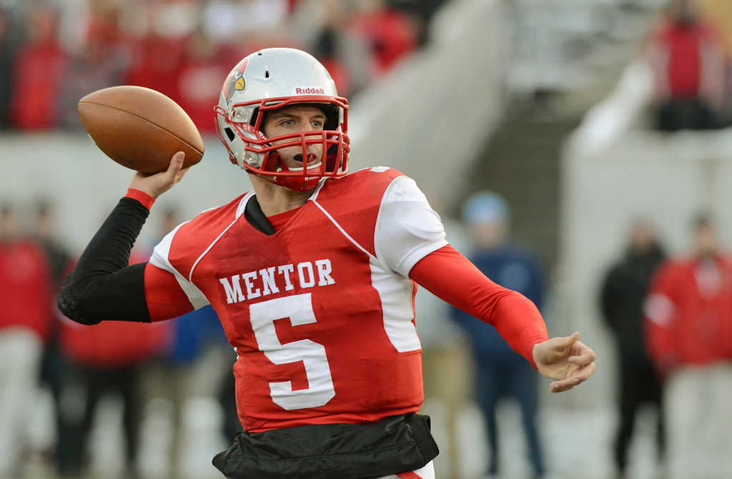 . Maribeth Joeright/MJoeright@News-Herald.com <p> Mentor\'s Brandon Conner Krizancic looks for an open receiver in the second quarter of the Division I state final game against Archbishop Moeller, Saturday, in Canton.