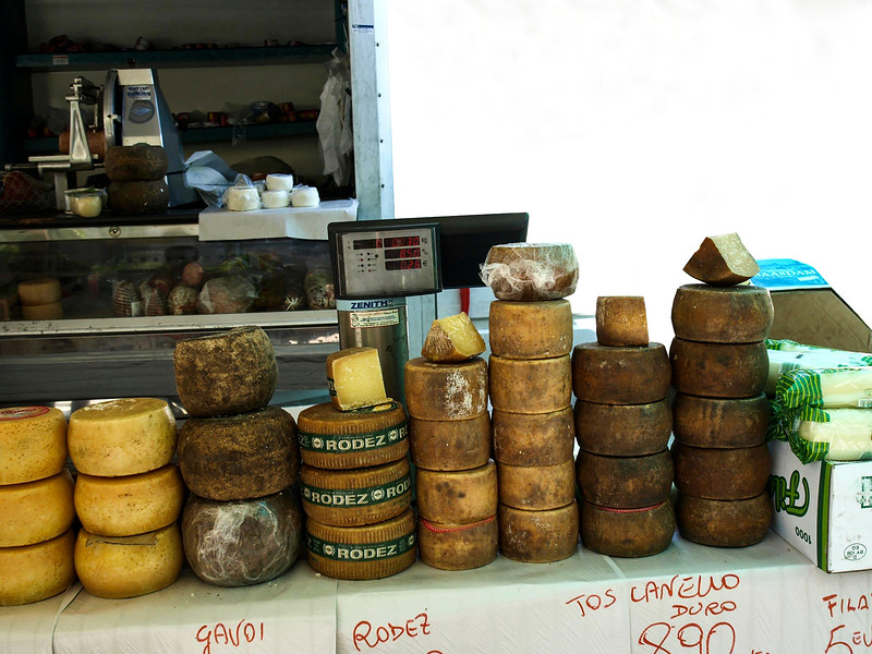 Cheese and lots of it. Thursday market, Brindisi Gavoi, Sardegna is known for their Pecarino. Rodez - France