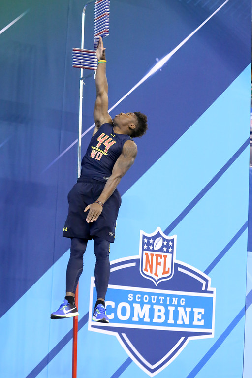 . Ohio State wide receiver Curtis Samuel  is seen in the vertical jump at the 2017 NFL football scouting combine Saturday, March 4, 2017, in Indianapolis. (AP Photo/Gregory Payan)