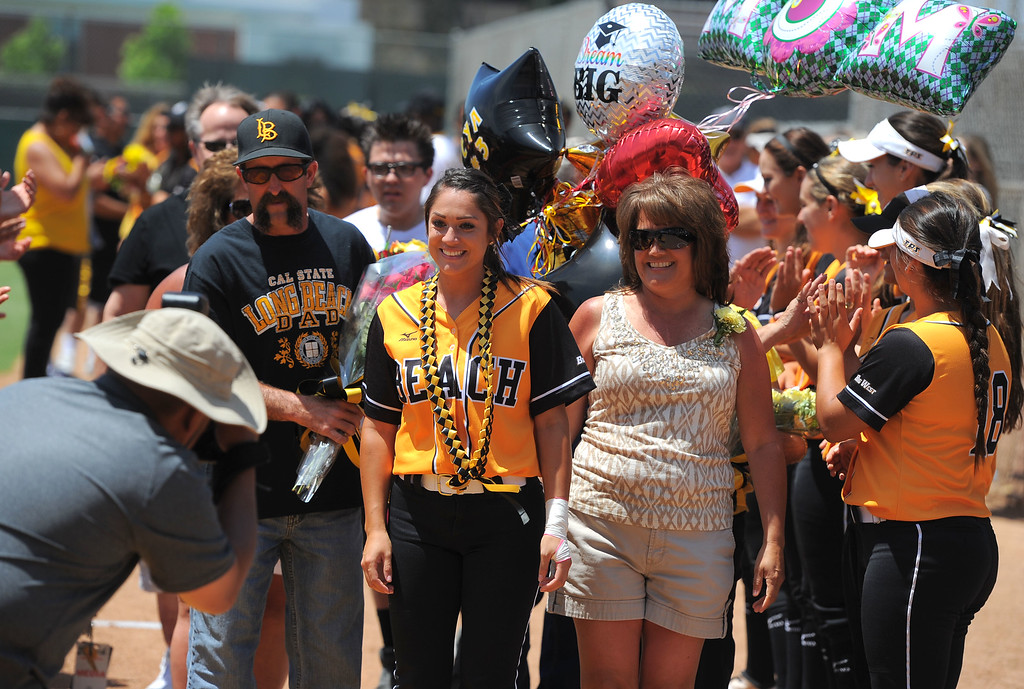 . Senior Cya Neal and her family before LBSU lost to Cal Poly softball 3-0 in Long Beach, CA on Sunday, May 4, 2014.  (Photo by Scott Varley, Daily Breeze)