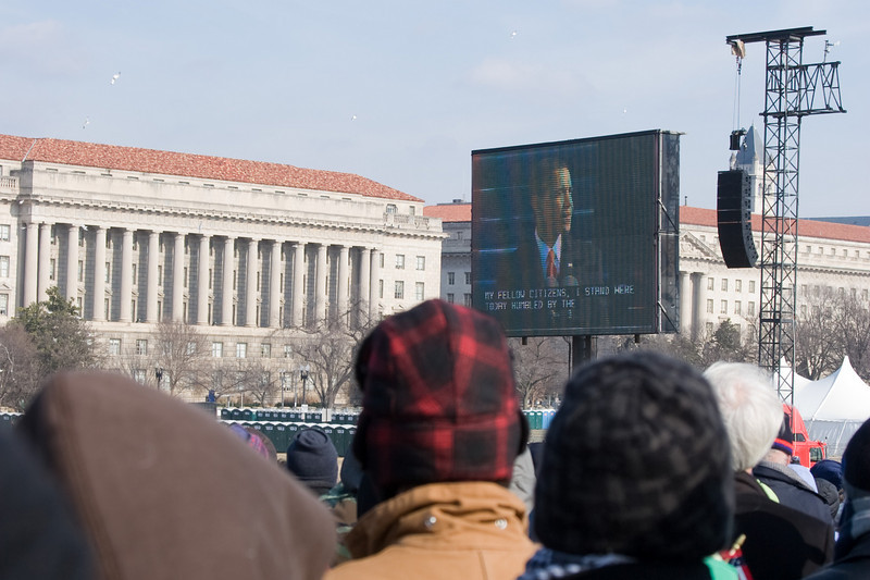 """My fellow citizens"" -- the Inaugural Address -- Presidential Inauguration for Barack Obama, Jan 20, 2009. It was about 25 degrees out with a crowd estimated at 1.5-1.8 million people."