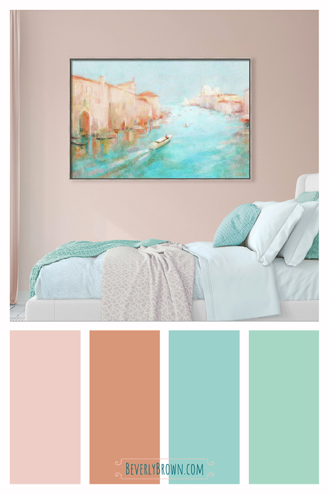Peach and aqua bedroom color scheme with Venice Grand Canal wall art by Beverly Brown