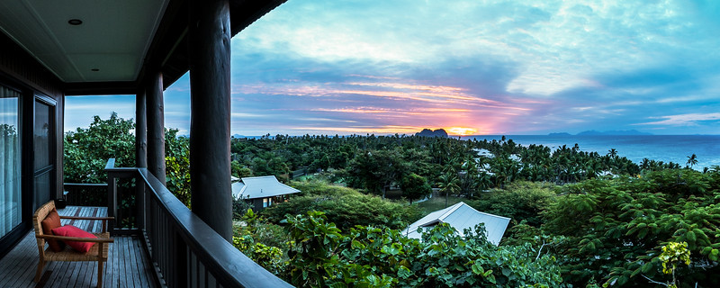 Hillside Villa at Vomo Resort during Sunset - Fiji Islands