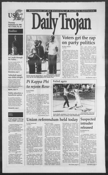 Daily Trojan, Vol. 129, No. 20, September 26, 1996