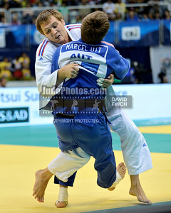 2013 Rio De Janeiro Worlds 130829A4334: Ivan Vorobov RUS (white) throws Marcel Ott AUT for ippon to reach the bronze medal contest during t....