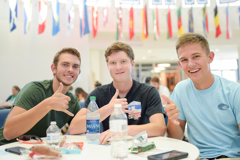 Clayton Holder (left), Sterling James and Nathan Kindel all from the same High School, have a mini reunion on the first day of classes.
