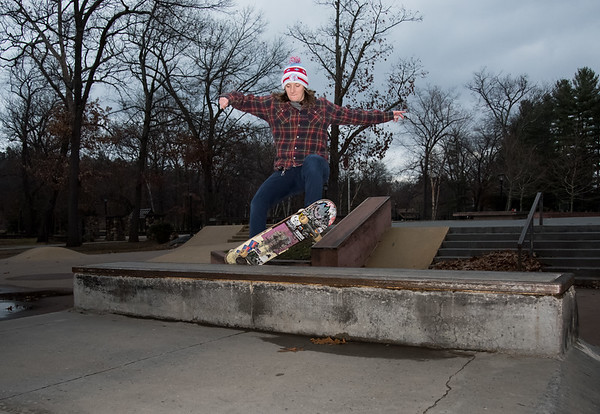 12/17/18 Wesley Bunnell | Staff Julie Sandt from Wallingford performs a front side grind in Rockwell Park on a cold Monday afternoon.