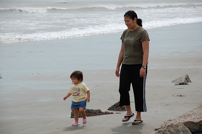 September 1, 2008 - Strolling down Galveston Beach on Labor Day