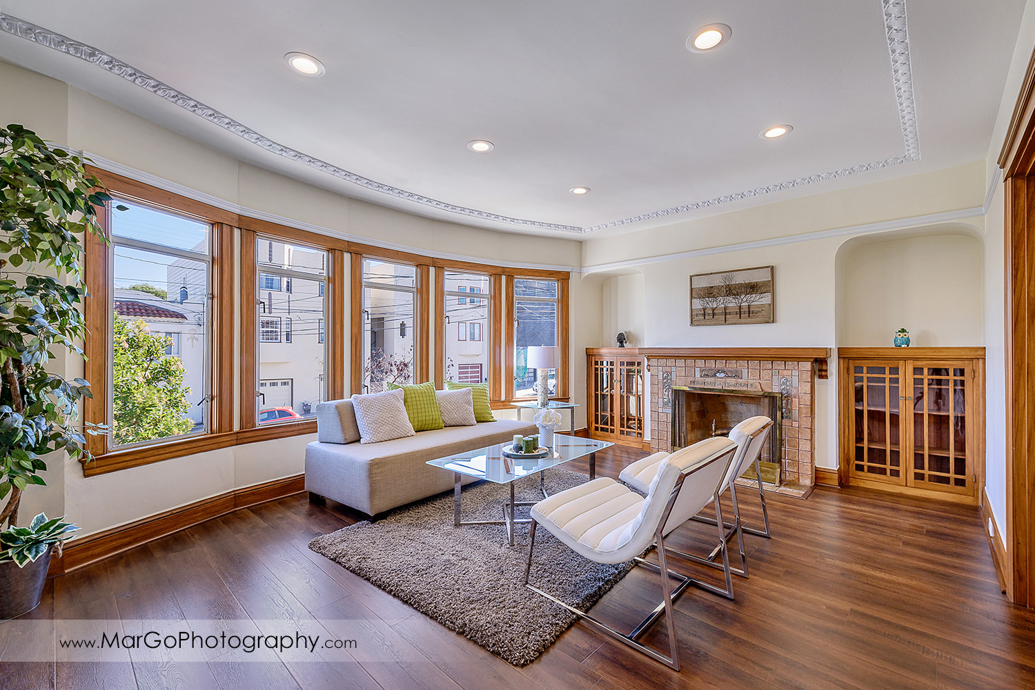San Francisco house living room with panoramic windows and fireplace - real estate photography