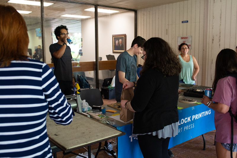 Students enrolled in Advanced Printmaking created wood blocks based on the First 10 Amendments to print on T-Shirts during Constitution Week.