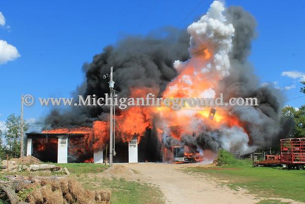 7/31/15 - Onondaga pole barn fire, 3717 S. Onondaga Rd