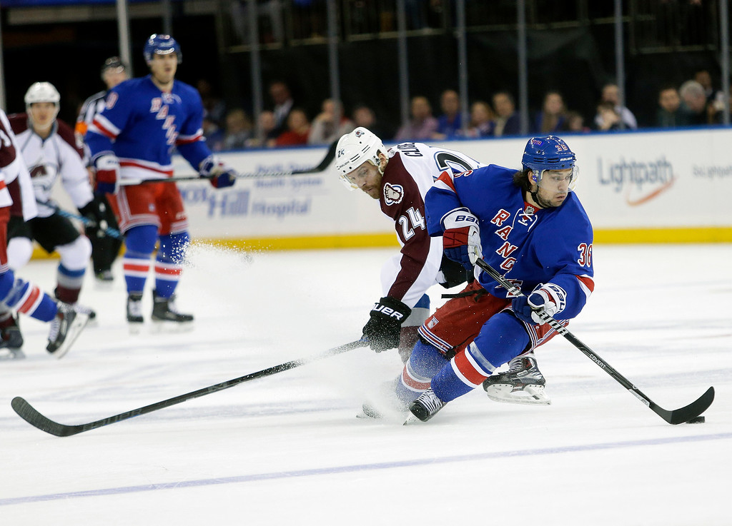 . New York Rangers\' Mats Zuccarello (36) protects the puck from Colorado Avalanche\'s Marc-Andre Cliche (24) during the first period of an NHL hockey game Thursday, Nov. 13, 2014, in New York. (AP Photo/Frank Franklin II)