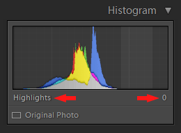 Lightroom Histogram - Highlights