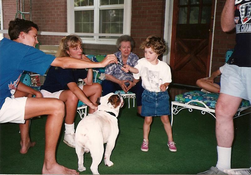 Edward III, Caroline holding Bubba, Mom Cerne, Maddie    7/92