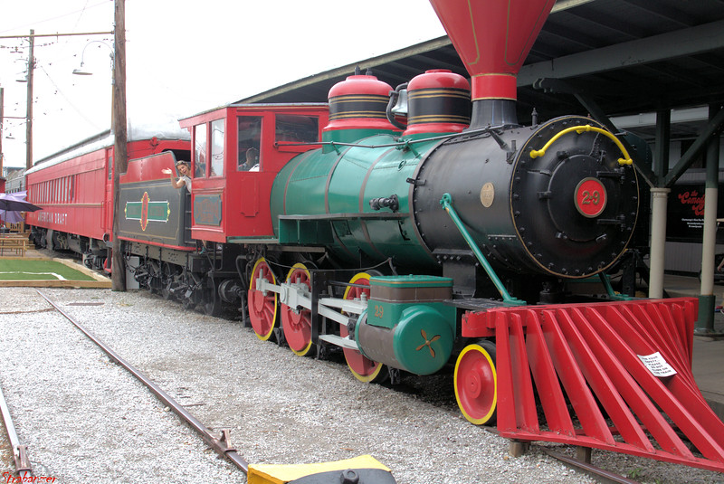A wood-burning Baldwin 2-6-0 steam engine which served on the Smoky Mountain Railroad (Knoxville, Sevierville & Eastern)  in the 1940s at the Chattanooga Terminal Station (Chattanooga  Choo Choo).    Chattanooga, TN, 07/14/2019 This work is licensed under a Creative Commons Attribution- NonCommercial 4.0 International License