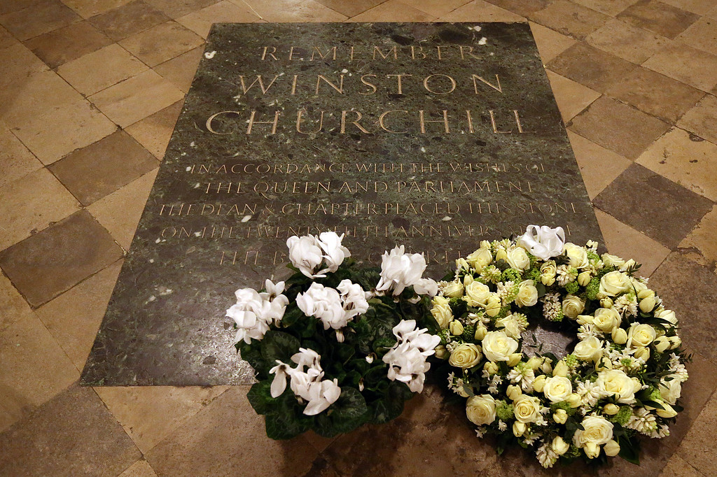 . Flowers are pictured on the memorial stone after a commemoration service to mark the 50th anniversary of the death of Winston Churchill at Westminster Abbey on January 30, 2015 in London, England. A series of events are to be held throughout the UK to mark the 50th anniversary of the death Britain\'s war time leader.