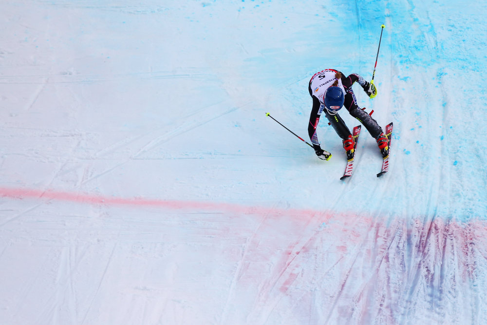 . Mikaela Shiffrin of the United States of America ducks for the finish line on her way to winning the Women\'s Slalom during the Alpine FIS Ski World Championships on February 16, 2013 in Schladming, Austria.  (Photo by Alexander Hassenstein/Getty Images)