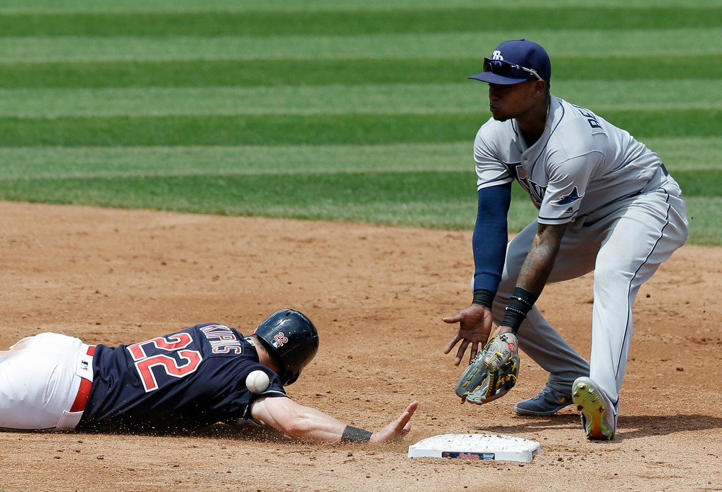 . Cleveland Indians\' Jason Kipnis, left, slides safely back to second base as Tampa Bay Rays\' Tim Beckham waits for the ball in the third inning of a baseball game, Wednesday, May 17, 2017, in Cleveland. (AP Photo/Tony Dejak)