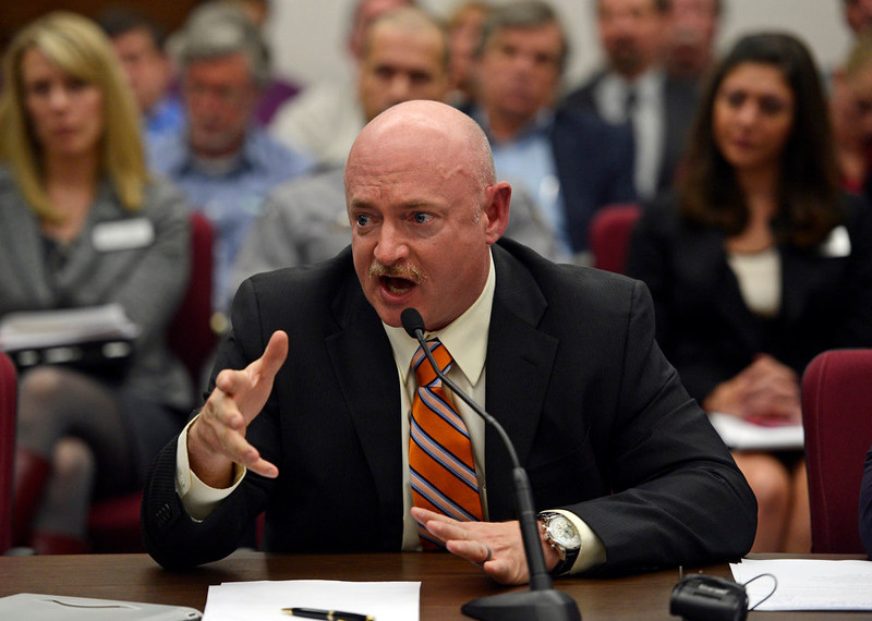 . Mark Kelly, the husband of former U.S. Rep. Gabrielle Giffords, testified before Colorado lawmakers on a universal background check bill for private gun sales, March, 04, 2013, at the Colorado State Capitol. Kelly addressed the Senate State, Veterans, and Military Affairs Committee in support of House Bill 1229. (Photo By RJ Sangosti/The Denver Post)