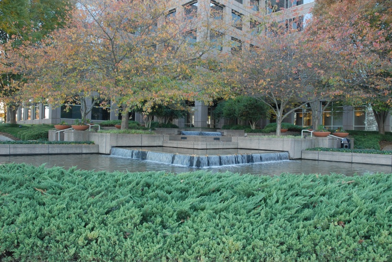 The fountains outside the South Tower