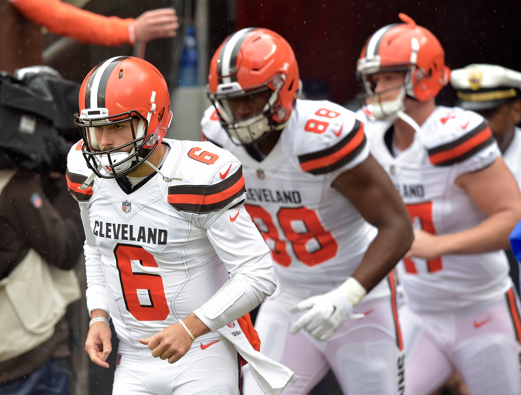 . Cleveland Browns quarterback Baker Mayfield (6) comes out of the tunnel with teammates before an NFL football game between the Cleveland Browns and the Pittsburgh Steelers, Sunday, Sept. 9, 2018, in Cleveland. (AP Photo/David Richard)