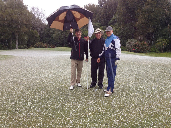 20141004 Wayne Eggleston, Maarten Wevers and Tim Fairhall in the snow and hail on the 1st green.jpg