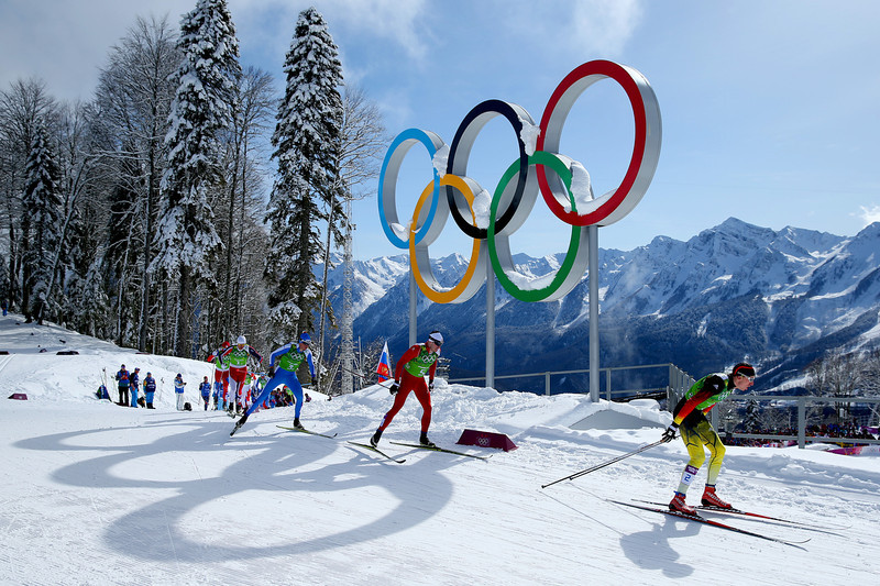 . Skiers compete in the Men\'s Team Sprint Classic Semi Final during day 12 of the 2014 Sochi Winter Olympics at Laura Cross-country Ski & Biathlon Center on February 19, 2014 in Sochi, Russia.  (Photo by Julian Finney/Getty Images)