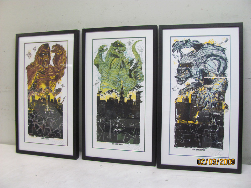RAMPAGE!! Three piece set featuring characters from arcade video game of the same name. Hand signed and numbered limited edition prints.