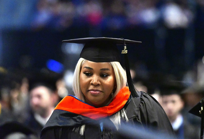 5/18/2019 Mike Orazzi | Staff CCSU graduates Phylicia Ward on commencement day at the XL Center in Hartford on Saturday.