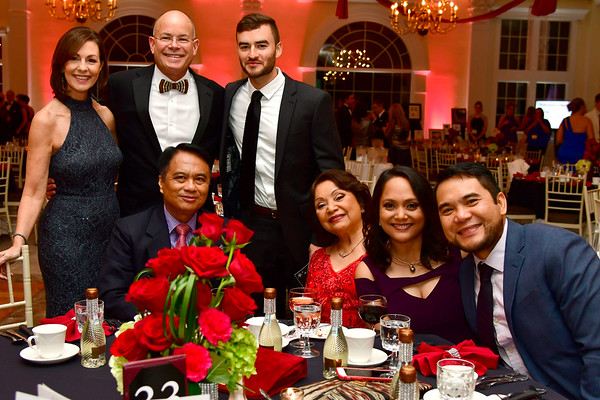 11/17/2018 Mike Orazzi | Staff Standing Mary Lynn Gagnon, Bristol Hospital Present and CEO Kurt Barwis and his son Sean. Seated: Romeo, Lucita and Margarita Reyes and Bryon Liam during Bristol Hospitals Annual Ball held at the Aqua Turf Club in Southington. All proceeds will benefit the Emergency Center expansion and renovation project.