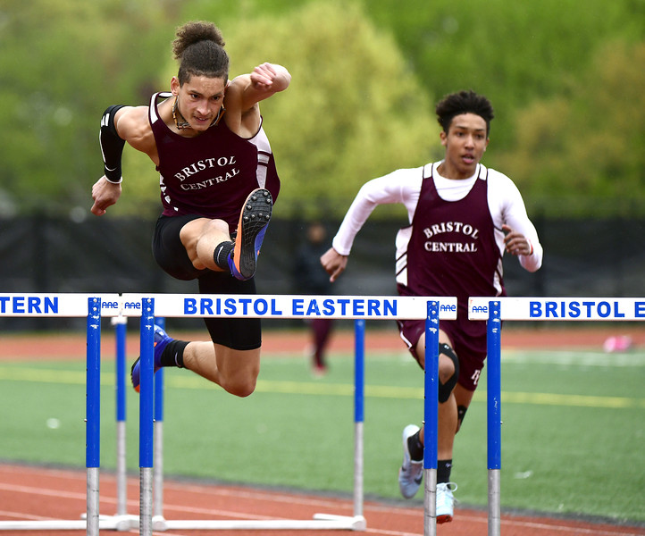 5/14/2019 Mike Orazzi   Staff Bristol Central's Jose Navedo in the 110 hurdles during Tuesday's city track meet at Eastern.