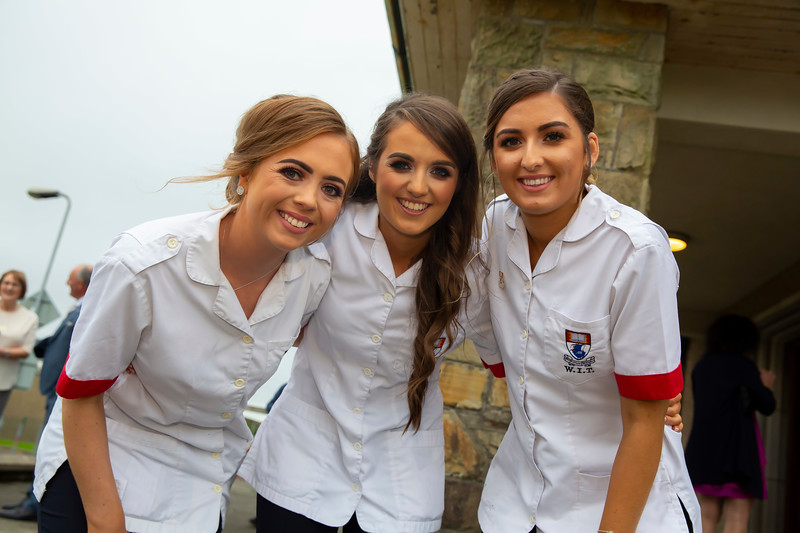 26/09/2019. Nurses Graduation at University Hospital Waterford are Orlaith Dee Tipperary, Rachel Egan Tipperary and Katie Berkery Limerick. Picture: Patrick Browne
