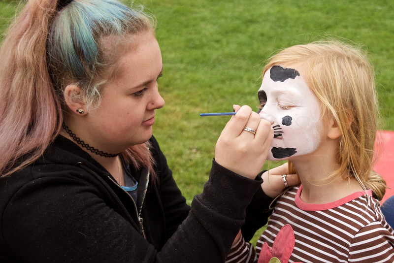 Face paint on the field