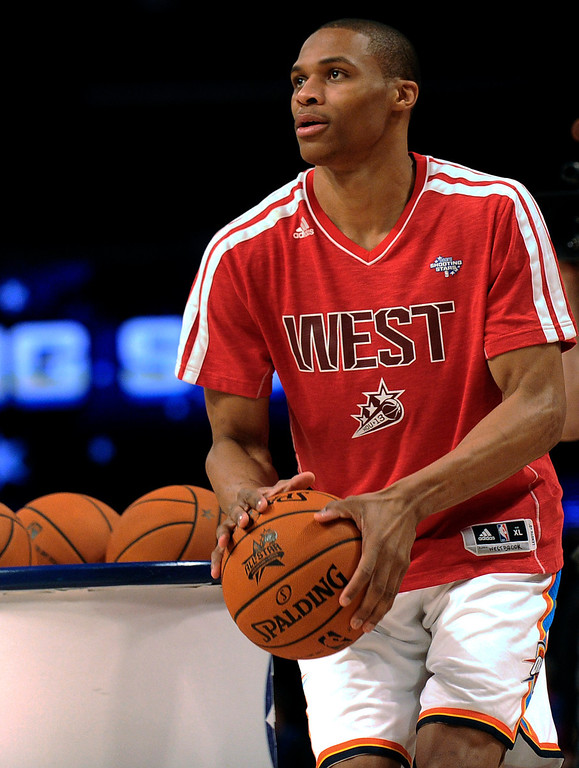 . Russell Westbrook of the Oklahoma City Thunder participates at the skills challenge  during NBA All-Star Saturday Night basketball in Houston on Saturday, Feb. 16, 2013. (AP Photo/Pat Sullivan)