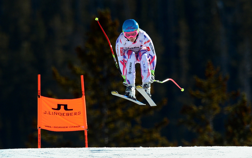 . Margot Bailet, (FRA), flies over the Red Tail jump, the last jump, in the Women\'s downhill race in the FIS Alpine World Ski Championships in Beaver, CO. February 6, 2015. (Photo By Helen H. Richardson/The Denver Post)