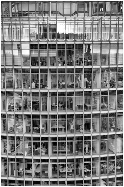 Office workers in the DB building - seen for the Kollhof Building, Potsdamer Platz, Berlin.