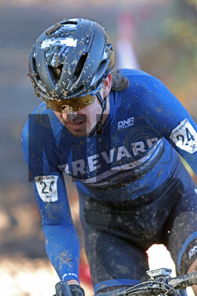 Richard Cypress Gorry (24) competes in the NC Cyclocross North Carolina Grand Prix at Jackson Park in Hendersonville, N.C., on Nov. 24, 2019