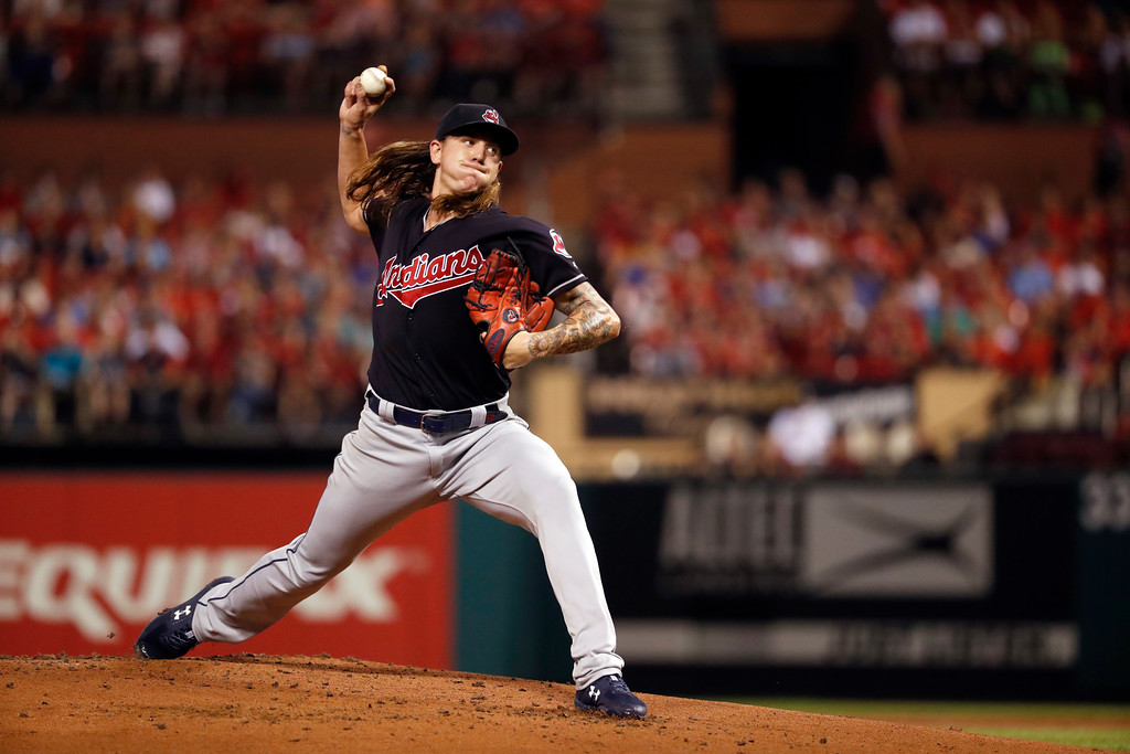 . Cleveland Indians starting pitcher Mike Clevinger throws during the first inning of a baseball game against the St. Louis Cardinals Monday, June 25, 2018, in St. Louis. (AP Photo/Jeff Roberson)