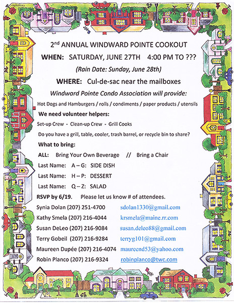 Announcement of 2nd Annual Windward Pointe Cookout