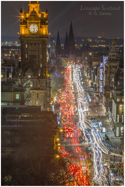 Princes Street and the Balmoral Hotel clock tower, dusk