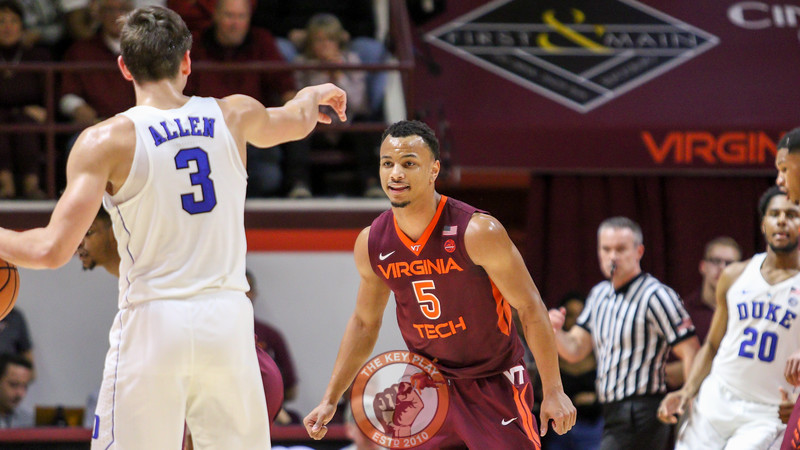 Justin Robinson gets set up on defense as Duke moves the ball downcourt. (Mark Umansky/TheKeyPlay.com)