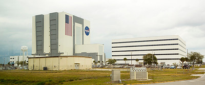 Vehicle Assembly Building (VAB) at Kennedy Space Center. The VAB (left) is the largest single-story building in the world at 526 feet tall.