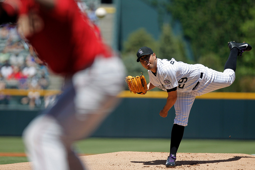 . Colorado Rockies starting pitcher Jorge De La Rosa works from the mound against the Arizona Diamondbacks during the first inning of a baseball game Wednesday, May 22, 2013 in Denver. The Rockies won 4-1. (AP Photo/Barry Gutierrez)