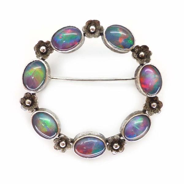 Vintage Silver Opal Doublet Floral Eternity Brooch
