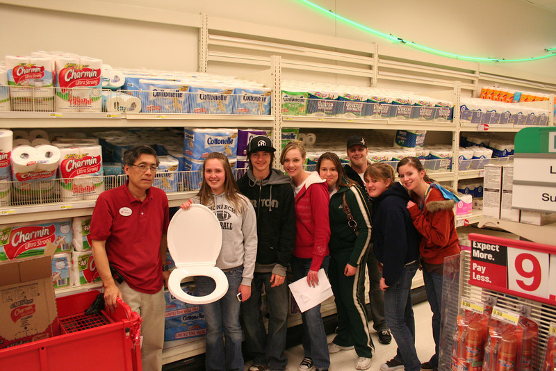 High School Scavenger Hunt Feb 08 In front of toilet paper