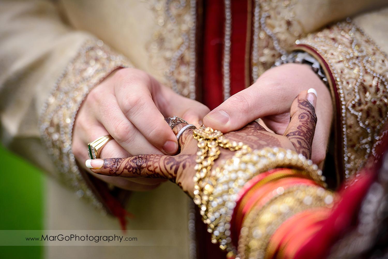 wedding rings exchange, indian wedding at Brazilian Room - Tilden Regional Park, Berkeley