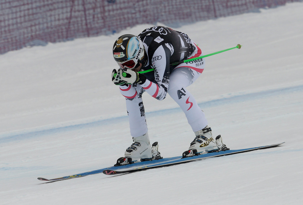 . Austria\'s Hannes Reichelt heads for the finish line during the men\'s World Cup downhill skiing event, Friday, Dec. 6, 2013, in Beaver Creek, Colo. Reichelt posted the second fastest time behind Norway\'s Aksel Lund Svindal. (AP Photo/Charles Krupa)