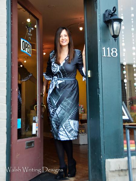 B&W Lighthouse wrap dress