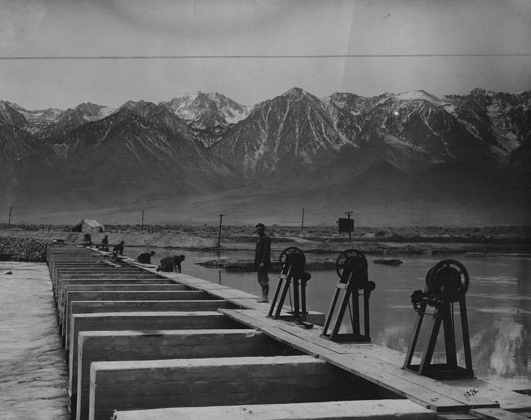 . Los Angeles Aqueduct intake in Owens Valley, 250 miles north of Los Angeles, where water is diverted from the Owens River into the aqueduct. Photo date: February 15, 1927.  (Los Angeles Public Library)