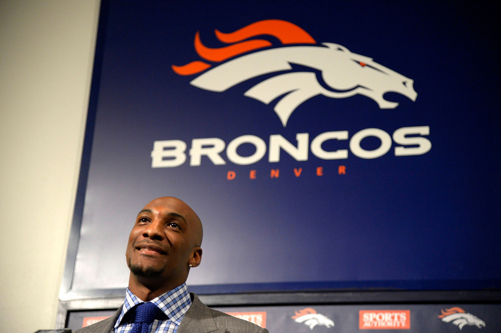. Denver Broncos Aqib Talib at the podium during a press conference March 12, 2014 at Dove Valley. (Photo by John Leyba/The Denver Post)